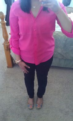 MAY 20: Pink button down, black pants, aldo flats, coach watch, infinity necklace, pastel ring