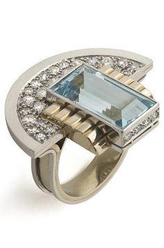 An Art Deco/Moderne aquamarine and diamond ring, by Jean Després, circa 1937, France, composed of platinum, gold, aquamarine and brilliant cut diamonds
