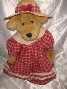 Boyds Plush Teddy Anna Belle Red Homespun Dress Straw Hat RTD BEAR with tags #AllOccasion