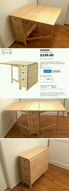 Narrow Gate-leg Table with 3 Drawers