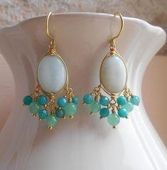 Myrsine mint bridal gemstone chandelier earrings light soft