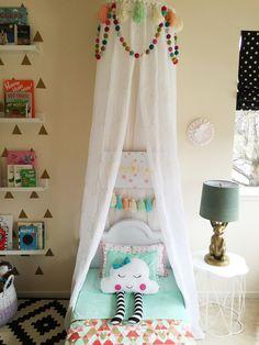 Interior design by Maya Ostrander. Toddler Rooms, Baby Rooms, Kids Rooms, Toddler Girl, Girl Room, Girls Bedroom, Bunny Lamp, Kids Bed Canopy, Ikea Rug