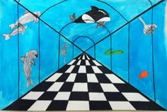Aquarium perspectives   http://mymessyartroom.blogspot.com/2012/12/5th-grade-one-point-perspective-under.html