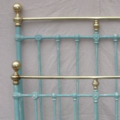 Brass and Iron bed painted French teal