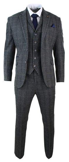 ed7c545b58462e Mens 3 Piece Classic Tweed Herringbone Check Grey Navy Slim Fit Vintage  Suit: Amazon.