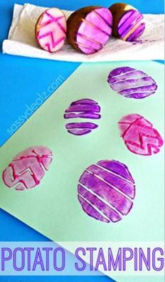 Pääsiäismunia perunalla painamalla. / Easter Egg Potato Stamping Craft for Kids  craft for kids |