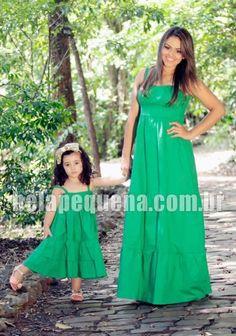 Vestidos mãe e filha longo verde com alças