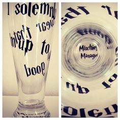 I solemnly swear that I'm up to no good beer glass on Etsy, $11.00 Harry potter glass