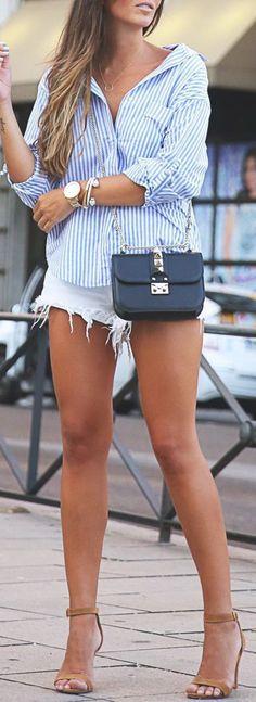 #SpringBreak #Outfits / White Denim Short Shorts - Light Blue Long Sleeve Shirt