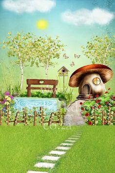 Whimsical Mushroom Garden http://www.photobackdrops.co.za