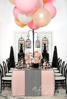 Table pink white black