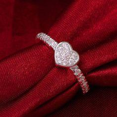 Size-7-8-White-CZ-Heart-Shaped-Ring-Wedding-Band-Women-