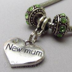 New Mum European Heart Birthstone Trio For Large Hole Charm Bracelets