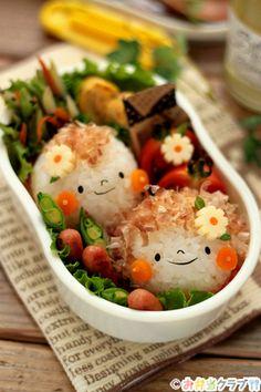 女の子と男の子のお花畑おにぎり弁当 | キャラクター弁当 | OCNお弁当クラブ レシピ