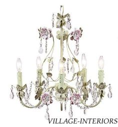 SHABBY N CHIC COTTAGE STYLE PINK & GREEN TOLE FLOWER 5 ARM CHANDELIER #Cottage
