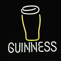 Guinness Glass Logo Neon Sign///How I love you neon signs , Real nice for my Home Bar Deco