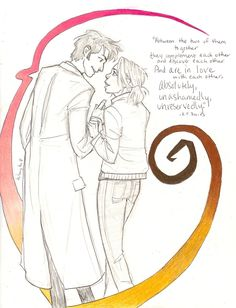 Russell T. Davies quote on Ten/Rose--The drawing is too cartoonish for me, but I love the quote.