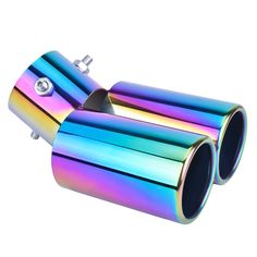 """Universal Chrome Colorful Blue 2.5/""""Car 1to2 Double Dual Exhaust Pipe Muffler Tip"""