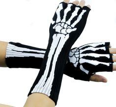 Bone Skeleton Fingerless Gloves Anime Cosplay Arm Warmers
