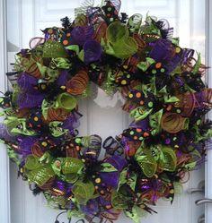 Halloween Curly Ribbon Deco Mesh Wreath  **FREE SHIPPING IN U.S.**