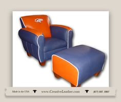 Creative Leather Furniture has even thought of the little guys.  Sports fans or not, this little chair and stool is a MUST for anyone wanting to improve those little spaces. www.creativeleather.com Leather Furniture, Custom Furniture, Chair And Ottoman, Armchair, Love Seat, Stool, Fans, Spaces, Creative