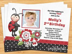 Ladybug Birthday Party Invitation by eventfulcards