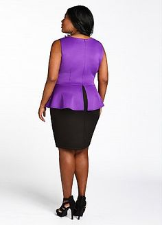 Plus Size Apparel » NOTABLE FASHIONS Ashley Stewart Color Block Peplum Dress $27.99  Find @ www.notablefashions.com