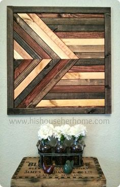 Geometric Stained Wood Wall Décor {Pottery Barn knock off} Would be an interesting modern design - big block
