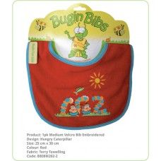 Bibs Velcro Fastening Embroided:- Double layer of absorbent terry toweling and generous sizing. Ideal for wrangling your toddler and the Medium bibs have a Velcro adjustable neck, perfect for the young ones. Range of designs and colors.