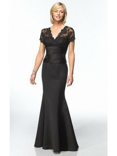 Black Mermaid Floor-length V-neck Dress