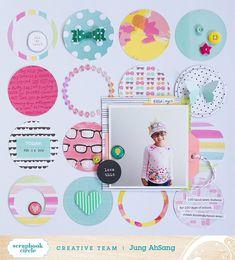 Jung's One Fine Day ideas Circle Scrapbook, School Scrapbook Layouts, Project Life Scrapbook, Birthday Scrapbook, Scrapbook Sketches, Baby Scrapbook, Travel Scrapbook, Scrapbooking Layouts, Scrapbook Cards