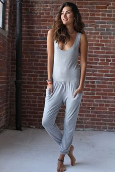 Summer Jumpsuit Heather Grey from Spiritual Gangster Sport Outfits, Summer Outfits, Yoga Fashion, Women's Fashion, T Shirt And Jeans, Spiritual Gangster, Beautiful Outfits, Beautiful Clothes, Jumpsuits For Women
