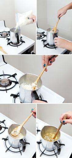la fonte de la cire, étape importante de la fabrication de bougies, idée pour fabriquer des bougies excellentes