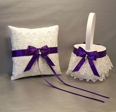 Regal Purple Wedding Bridal Flower Girl Basket by evertonbridal, $40.00