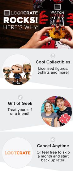 Give the gift of geek! EVERY Loot Crate includes 4-6 exclusive and licensed items for the geek or gamer in your life. Get started for $19.95 a month!