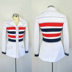 Rare vintage 1960s Mod Lilli Ann Blazer ... fitted red, white and blue Mid Century fun and funky designer jacket ... full details including sizing and measurements below LABEL: Lilli Ann Paris San Francisco No size or fabric labels ~~~ sizing measurements shown further down Fabric looks/feels like polyester, medium weight Large pointed split collar Fitted Slit pockets, see photo Red white and blue horizontal stripes Top stitching 4 round white vintage front buttons Dry cleaning recommend...