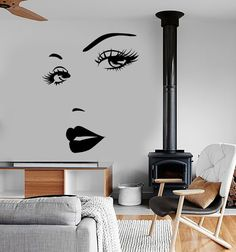 Wall Vinyl Decal Sexy Lips Eyes Face Beauty Hair by BoldArtsy