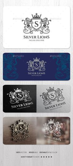Silver Lions Logo — Vector EPS #capital #heraldic • Available here → https://graphicriver.net/item/silver-lions-logo/15316894?ref=pxcr