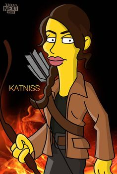 """Hunger Games"" characters as ""Simpsons"" stars... because... well, why not? Gale looks especially funny to me."