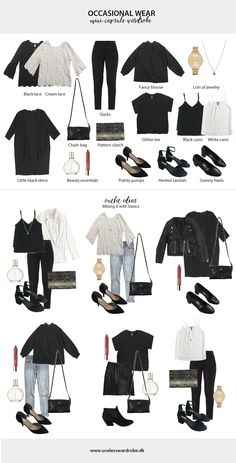 Your failsafe guide on how to build a mini-capsule wardrobe of occasional wear. - Your failsafe guide on how to build a mini-capsule wardrobe of occasional wear. Your failsafe guide on how to build a mini-capsule wardrobe of occasional wear. Capsule Outfits, Fashion Capsule, Mode Outfits, Fashion Outfits, Womens Fashion, Fashion Tips, Minimal Wardrobe, Black Wardrobe, Warm Outfits
