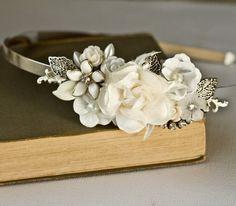 FREE SHIPPING Bridal Headband - Bridal Hair Accessories, Vintage Silver Headband, Shabby Chic Wedding Accessories, Unique Bride Pearl via Etsy.