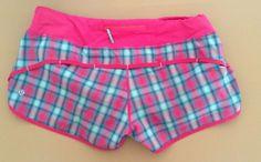 Lululemon Speed Shorts Señorita Pink Plaid Size 8 Running Shorts #Lululemon #Shorts