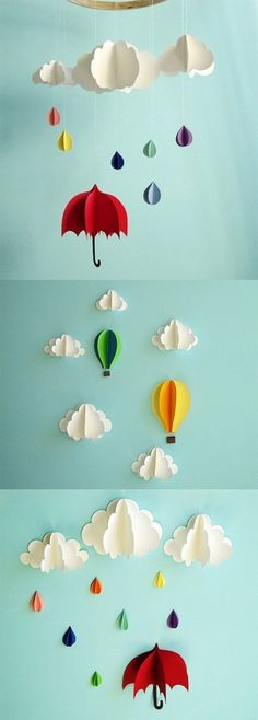 What a cute idea, must craft this someday Origami Umbrella, Origami Balloon, Origami Paper, Diy Paper, Paper Art, Paper Crafts, Diy Spring Decorations, Hanging Paper Decorations, Umbrella Decorations