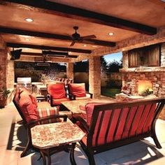 Stone fireplace wall, large outdoor tv, enclosure and mantle    Outdoor Fireplace Design, Pictures, Remodel, Decor and Ideas - page 7