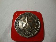 Red Bakelite Compact: Memento Souvenir of the 1936 Texas Centennial Exposition: