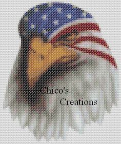 Patriotic Eagle Head Cross Stitch Pattern