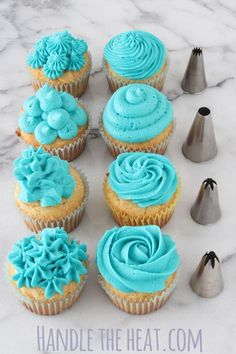 Video: Cupcake Decorating Tips - aqua cupcakes. I don't even like cupcakes, but if you put aqua frosting on them I might be tempted. Today's post isn't a recipe, instead it's a quick video and tutorial about how to decorate cupcakes using piping tip Cupcake Decorating Tips, Cookie Decorating, Decorating Ideas, Wilton Cake Decorating, Just Desserts, Delicious Desserts, Delicious Cupcakes, French Desserts, Frost Cupcakes