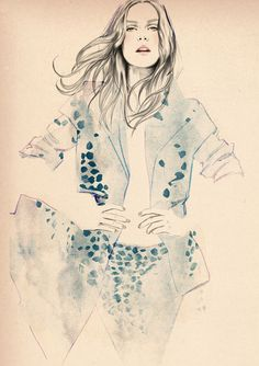Watercolour fashion illustration - beautiful fashion drawing // Sandra Suy