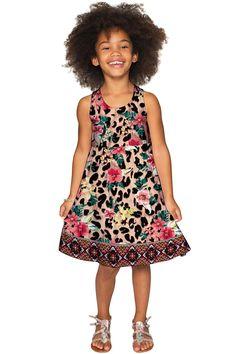 Wild & Free Sanibel Leopard Print Fit & Flare Knit Dress - Girls