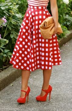 Checkered skirt / red mary jane pumps. For that little 50's girl in all of us.
